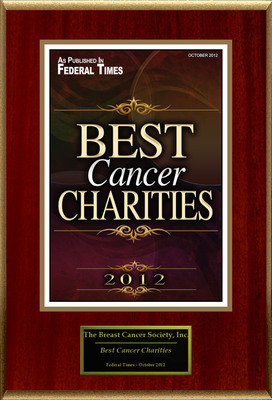 "Breast Cancer Society Selected For ""Best Cancer Charities.""  (PRNewsFoto/Breast Cancer Society)"