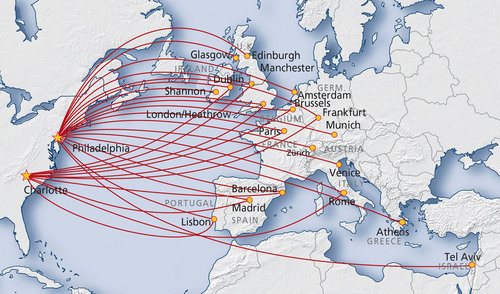 US Airways Adds Th TransAtlantic Destination From International - Us air hubs map