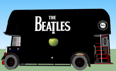 On Tuesday, November 13, in an innovative one-day-only promotion, mobile Beatles pop-up shops in the form of customized double-decker buses will hit the streets of New York and Los Angeles, making several stops in each city throughout the day.  The mobile shops will be deployed to celebrate Tuesday's hotly anticipated 180-gram vinyl LP release of The Beatles' GRAMMY-winning remastered studio albums in stereo.  www.thebeatles.com.  (PRNewsFoto/Apple Corps Ltd./EMI)
