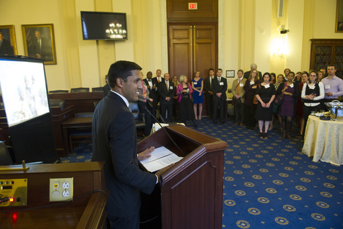 USAID Administrator Dr. Rajiv Shah delivering the reception's keynote speech  (PRNewsFoto/Malaria No More)