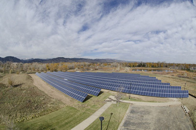 Ground-mounted solar panel installation at the University of Colorado Boulder.  (PRNewsFoto/Panasonic Corporation of North America)