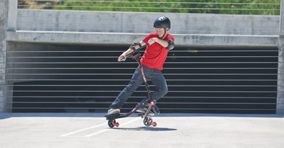 "Thanks to the Y Fliker LIFT's patent-pending, revolutionary LIFT technology, all kids need to do is pick up speed, then simply lean back and ""Lift."" Like other Y Fliker scooters, this scooter is all kid-powered. Using the same motions as downhill skiing, riders only need to move their hips and legs from side to side to get going and keep moving."