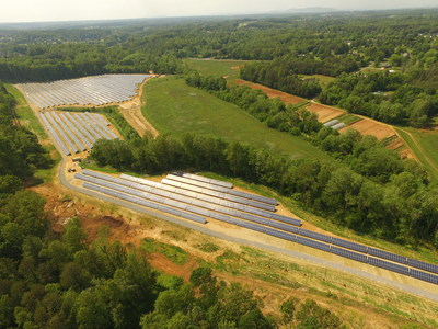 Aerial view of 5.25 megawatt solar array at country club in North Carolina