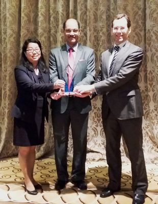 Dr. Jaideep Devare, Managing Director, MIBL, receives the award on behalf of MIBL at the Awards function in Singapore