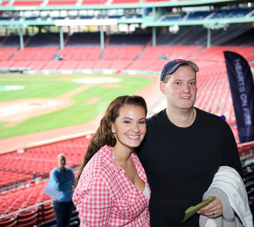 Amanda and Mike Kachinski from Peabody, MA competed against more than 250 couples and won the grand prize of a $20,000 Hearts On Fire diamond ring at the first ever Hearts On Fire Diamond Hunt at Fenway Park on Sunday, September 30, 2012.  (PRNewsFoto/Hearts On Fire)