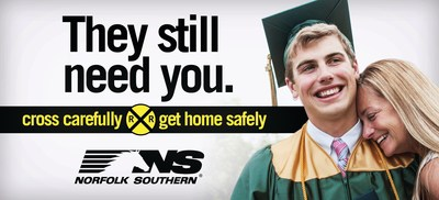 "Billboards, with messages such as ""They still need you,"" remind Indiana residents to cross railroad tracks carefully."