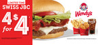 Wendy's just made the best deal in town even better by adding the Swiss Jr. Bacon Cheeseburger to the 4 for $4 Meal. Made with Wendy's fresh, never-frozen beef, thick-cut Applewood Smoked Bacon, and topped with a slice of creamy Swiss and a dollop of ranch, the Swiss Jr. Bacon Cheeseburger 4 for $4 Meal comes with four all white-meat chicken nuggets, small fries, and a small drink--all for $4. Now you have three great ways to enjoy a 4 for $4 Meal.