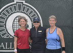 BallenIsles Tennis Director Trish Faulkner (center), is flanked by 60s Singles Winner Wendy McColskey (left) and runner up Margaret Machion (right).  (PRNewsFoto/BallenIsles Country Club)