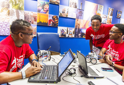 L-R: High school students Shane Porter of Douglasville, Ga., Nazareth Brown of Woodstock, Ga., and Jacoby Felder of Duluth, Ga. learn the science behind the magic of Walt Disney World Resort during an engineering workshop March 4, 2016 at Disney Dreamers Academy with Steve Harvey and Essence Magazine at Disney University in Lake Buena Vista, Fla. The ninth annual event March 3-6, 2016, is a career-inspiration program for distinguished high school students from across the U.S. (Matt Stroshane, photographer)