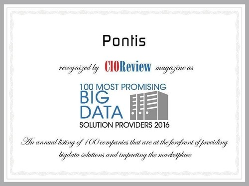Pontis Receives Recognition as One of the 100 Most Promising Big Data Solution Providers by CIOReview (PRNewsFoto/Pontis)