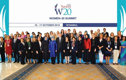 """Expressing his belief that the W20 would greatly contribute to the G20 agenda with its studies and propositions in terms of providing fairer conditions for women's presence in economy, President ErdoÄŸan drew attention to """"inclusive growth"""", one of Turkey's G20 goals. """"One of the most important aspects of inclusiveness, which means everyone should get a share of economic growth and welfare, is that women get the position they deserve in economy,"""" President Erdogan said and he stated that the female workforce of G20 countries was currently at 58% while male workforce was at 86%. The President underlined that women should be included in the workforce to achieve high-growth rate. (PRNewsFoto/G20 Turkish Presidency) (PRNewsFoto/G20 Turkish Presidency)"""