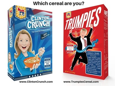 The wildly popular Clinton Crunch and Trumpies cereals were developed by the Cueto family to teach their young daughter about presidential elections. The couple realized that creating the cereals became a fun way to also teach their child about entrepreneurship and how to start a small business. The cereals, sourced from brand name suppliers, are available online at www.ClintonCrunch.com and www.TrumpiesCereal.com