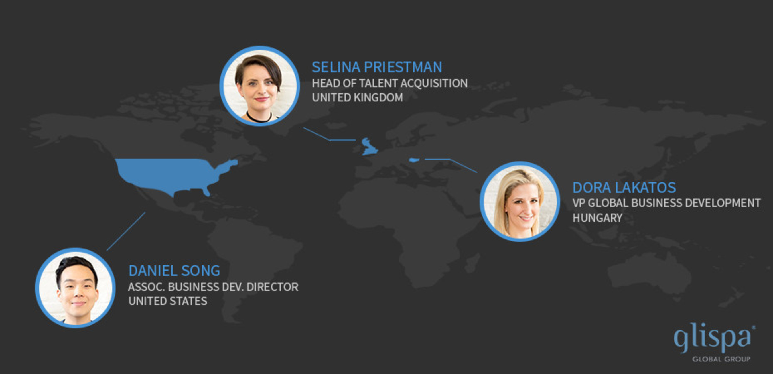 We are excited to welcome Dora Lakatos, Selina Priestman and Daniel Song to the glispa Team.