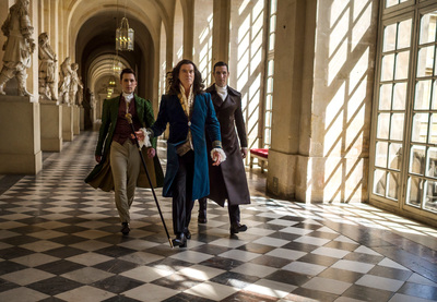 (L-R) Ben Lloyd-Hughes as Lintillac_Pierce Brosnan as King Louis XIV & Pablo Schreiber as Dr. Labarthe in THE MOON AND THE SUN