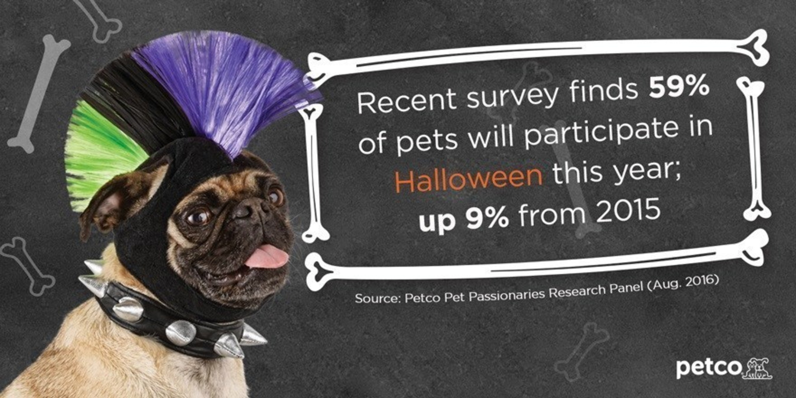According to a recent Petco survey*, 59 percent of pet parents say their pet will participate in Halloween this year, a 9 percent increase from 2015