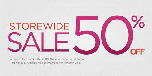 50% Discount.  (PRNewsFoto/Batteries Store)