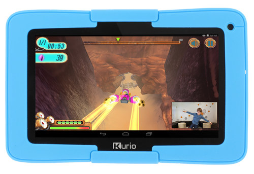 Kurio Xtreme introduces exclusive Kurio Motion gaming - the first body-controlled games on a tablet.  The advanced kid tablet comes preloaded with 10 Kurio Motion games that will get kids jumping, running and moving as they swim, ski, tend goal, space race and more.  The technology works using the tablet's camera alone, allowing games to be played anytime, anywhere.  No consoles, sensors, gaming controllers or TV is required.  A special Kurio Motion gaming stand is included with the device. (PRNewsFoto/Techno Source)