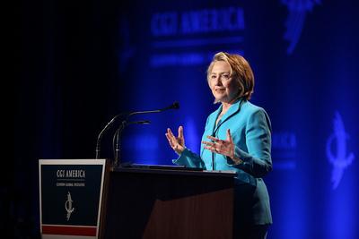 Efforts to close the word gap high on LAUP's and Hillary Rodham Clinton's agenda at CGI America. (PRNewsFoto/Los Angeles Universal Preschool)