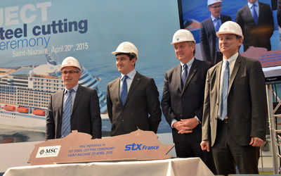 Marked by a steel cutting ceremony today in Saint-Nazaire, work is now underway for the first of MSC Cruises' $5.4 billion, 7-ship investment plan to double its capacity by 2020. Pictured from left to right: Jean-Yves Jaouen, Senior Vice President of Operations, STX France; Gianni Onorato, Chief Executive Officer, MSC Cruises; Pierfrancesco Vago, Executive Chairman, MSC Cruises; Laurent Castaing, General Manager, STX France