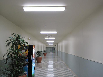Well-lit hallway by Aleddra LED T8 with 45% energy saving.  (PRNewsFoto/Aleddra LED Lighting)