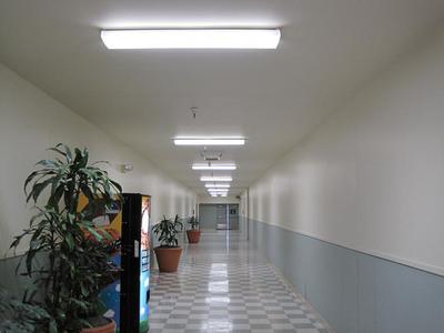 Well-lit hallway by Aleddra LED T8 with 45% energy saving.  (PRNewsFoto/Aleddra LED Lighting)