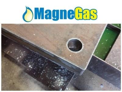 "3.25"" A36 Hot Roll Plate cut at Elenbaas Steel Supply cutting speed 13.5 ipm normal speed 9 ipm. (PRNewsFoto/MagneGas Corporation)"
