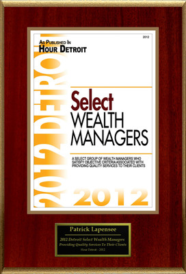 "Patrick Lapensee of LPL Financial Selected For ""2012 Detroit Select Wealth Managers"".  (PRNewsFoto/American Registry)"