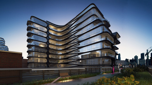 520 West 28th Street rendering - courtesy of Related Companies and Zaha Hadid Architects.  (PRNewsFoto/Related ...