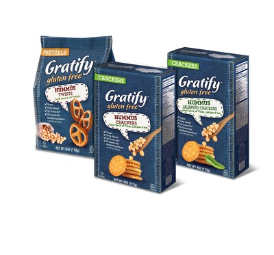 New Gratify Gluten Free Hummus Crackers and Hummus Pretzels offer a satisfying snacking experience that delivers flavor, nutrition and crunch!  Gratify Hummus Crackers will be available in two flavors: Original and Jalapeno (SRP $3.99) and Hummus Pretzels will be available in Original Twists (SRP $3.99).  Both are a good source of protein, fiber, calcium and iron.  In addition to being certified gluten free, they are vegan, kosher and made with non-GMO ingredients.