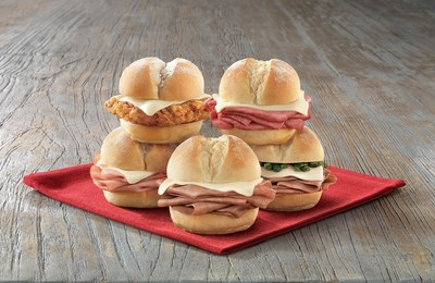 Arby's Sliders include: Roast Beef 'n Cheese Slider, Crispy Chicken 'n Cheese Slider, Corned Beef 'n Cheese Slider, Ham 'n Cheese Slider, Jalapeno Roast Beef 'n Cheese Slider.