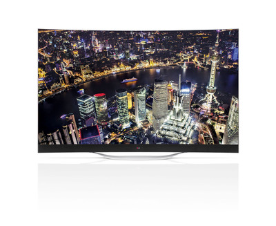 LG Electronics' new 77-inch class ULTRA HD CURVED OLED TV (model 77EC9800) will be on display at next week's 2014 International CES.(PRNewsFoto/LG Electronics USA, Inc.)