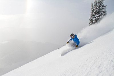 A skier enjoys fresh snow in Sundown Bowl at Vail Mountain.  (PRNewsFoto/Vail Resorts, Vail Mountain)