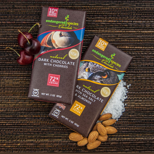 Endangered Species Chocolate's new natural dark chocolate with sea salt and almond and dark chocolate with ...