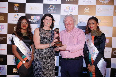 Mr. Graham Cooke, President & Founder, World Travel Awards and Ms. Margaret A. Benua, Chair of the Board, Miami Beach Visitor and Convention Authority at the World Travel Awards Grand Final Gala Ceremony hosted at The Sun Siyam Iru Fushi in Maldives (Photo Credit: World Travel Awards)