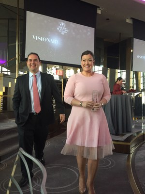 IT Cosmetics Co-Founders Jamie Kern Lima and Paulo Lima accept 2015 WWD Beauty Inc. Award for Prestige Brand of the Year