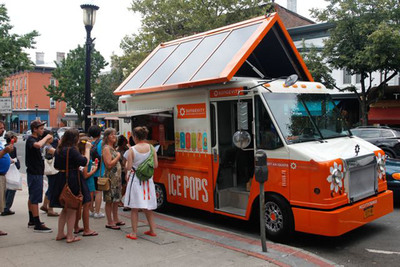Sungevity bio-diesel, solar-powered ice pop truck tours the Northeast bringing solar to life.  (PRNewsFoto/Sungevity)