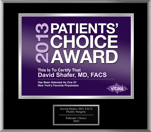 Dr. David Shafer of New York, NY Named a Patients' Choice Award Winner for 2013.  (PRNewsFoto/American ...