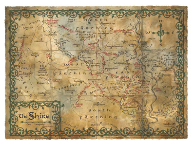 Map of the Shire from Weta Workshop. Photo courtesy of Warner Bros. Consumer Products.   (PRNewsFoto/Warner Bros. Consumer Products)