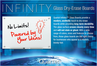 Infinity Glass Dry-Erase Boards.  (PRNewsFoto/Quartet Brand)