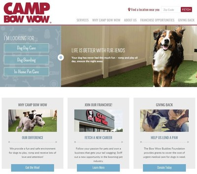Camp Bow Wow, the nation's largest pet care franchise, unveils new website and updated brand image.