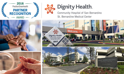 "Dignity Health's two Inland Empire Hospitals, Community Hospital of San Bernardino and St. Bernardine Medical Center, have been awarded the 2016 ""Partner Recognition Award"" from Practice Greenhealth, the nation's leader in the global movement for environmental health and justice."