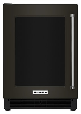 """24"""" Black Stainless Undercounter Refrigerator with Glass Door and Metal Trim Shelves"""