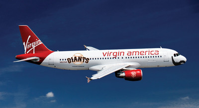 "Virgin America, the Only Bay Area-Based Airline & the Official Airline of the Giants Unveils a Beautiful and Bearded Airbus A320 Named ""Fly Bye Baby,"" in Honor of the Facial Hair-Friendly Hometown Champs.  (PRNewsFoto/Virgin America)"