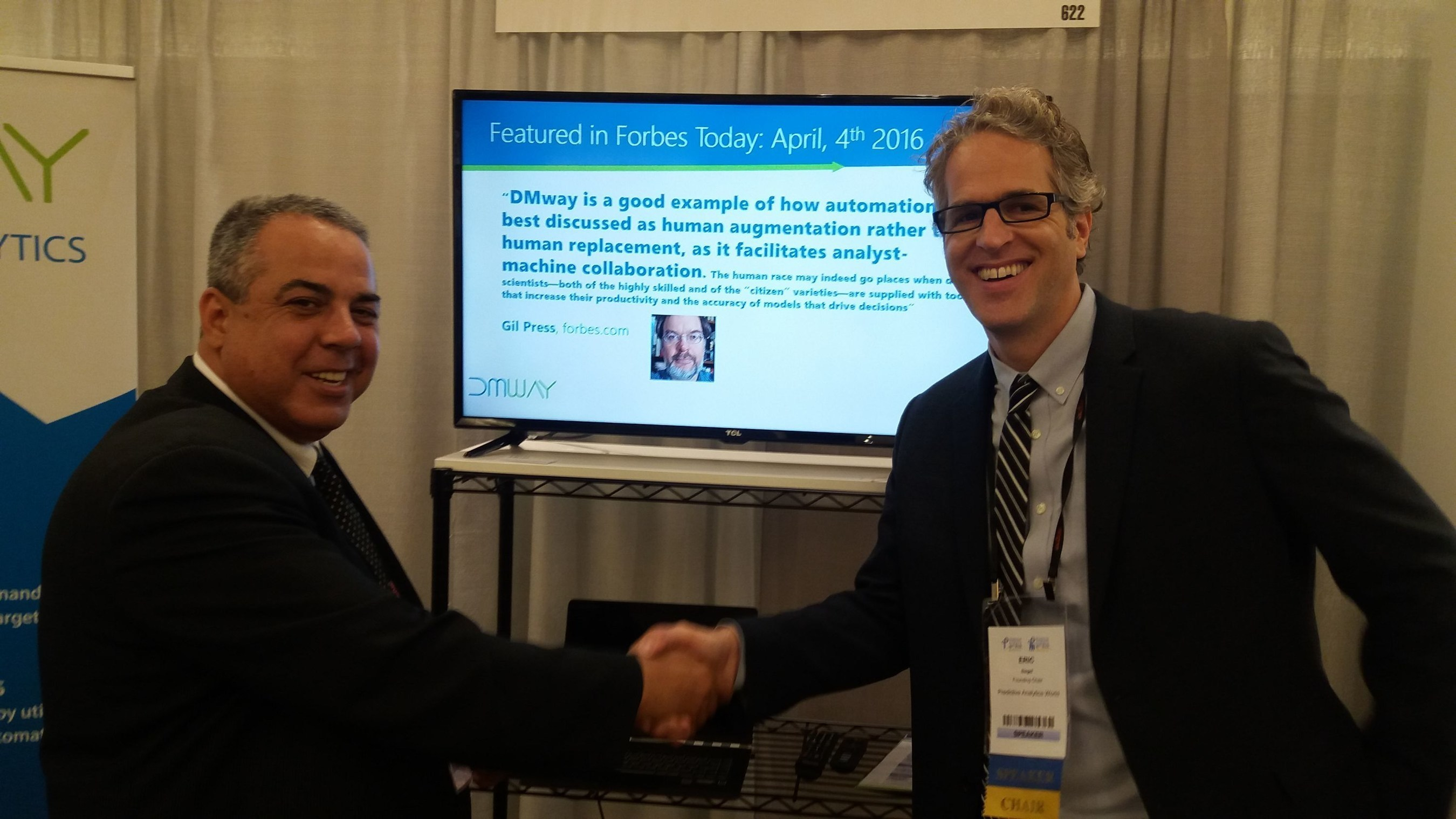 Eric Siegel and Gil Nizri at the Predictive-Analytics-World conference, San Francisco, 2016