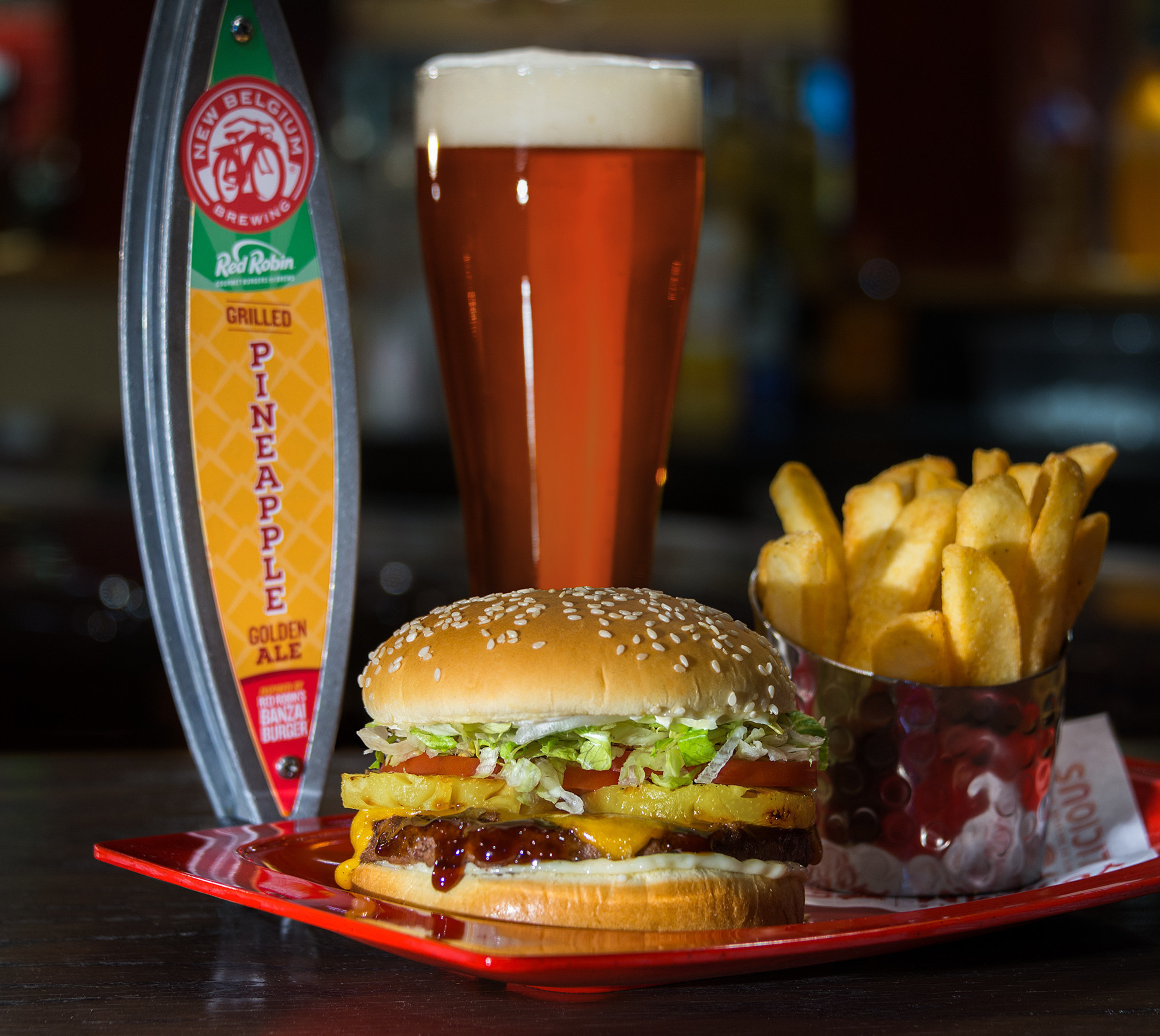 Red Robin Gourmet Burgers and Brews partners with New Belgium Brewing to create Grilled Pineapple Golden Ale, the first-ever special release beer inspired the unique components of Red Robin's famous Banzai Burger. The beer will make its debut at the Great American Beer Festival on Oct. 6-8, in Denver, and will be served on-tap at Red Robin Gourmet Burgers and Brews restaurant throughout Colorado while supplies last.