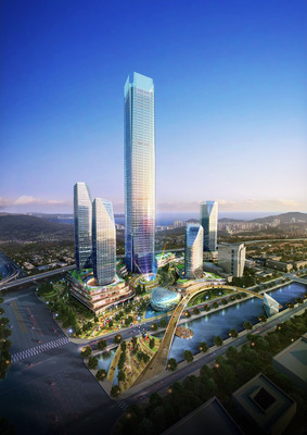 An artist rendering of the Busan International Finance Center, where a PureCell model 400 fuel cell system will be installed in the Landmark Tower.  (PRNewsFoto/ClearEdge Power)