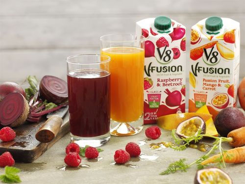 New V8 V-Fusion Juice is available in two tasty new variants Raspberry and Beetroot and Passionfruit, Mango and Carrot Orange, Carrot from all leading supermarkets. (PRNewsFoto/V8 V-Fusion)