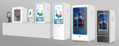 PepsiCo's beverage equipment innovation portfolio (L-R): Pepsi Spire 1.1; Pepsi Spire Ice Dispenser; Pepsi Spire 2.0; Pepsi Spire 5.0 countertop; Pepsi Spire 5.0 free-standing; Pepsi Interactive Vending Machine; Pepsi Smart Cooler.