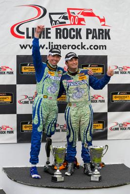 Liam Dwyer and Tom Long on Lime Rock Podium (PRNewsFoto/Mazda)