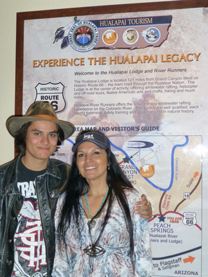 Kiowa Gordon and his Monther Camille Nighthorse (also in show business) at the Hualapai Lodge on Historic Route 66. Gordon took photos with fans and stayed at the Lodge the night before rafting.